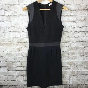 Sandro black textiled v neck stretchy dress 2